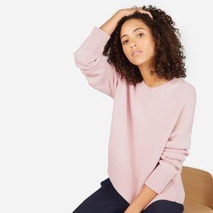 Everlane Pink Soft Cotton Crew Neck Sweater, XS
